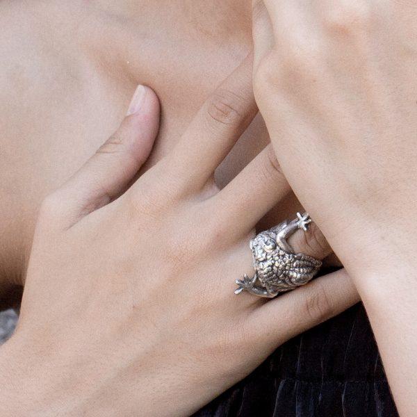 Gator statement jewelry, handmade ring, animal raptile inspired piece