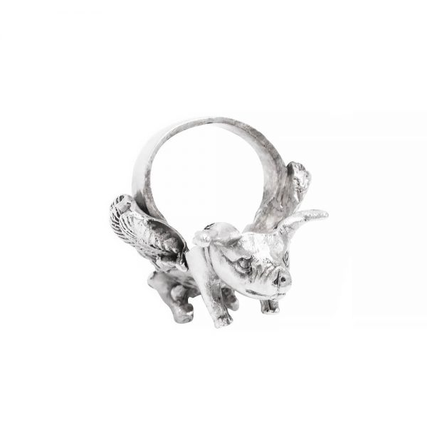 Silver ring in shape of a piglet with angel wings