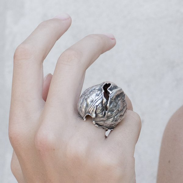 Statement silver ring walnut with crack