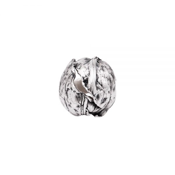Statement silver ring, handmade in shape of a real walnut