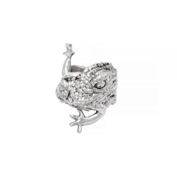 Alligator shape statement ring, sterling silver, handmade