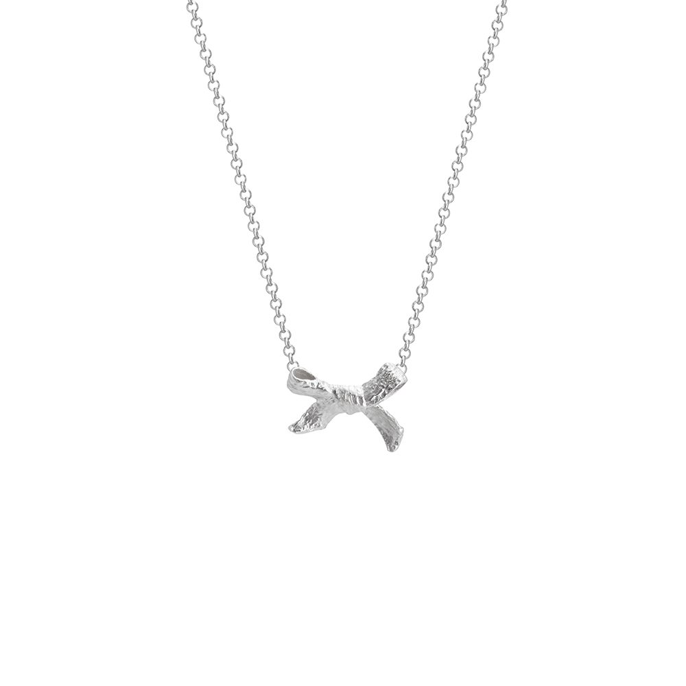 Silver bow necklace designed for mothers and celebrating motherhood