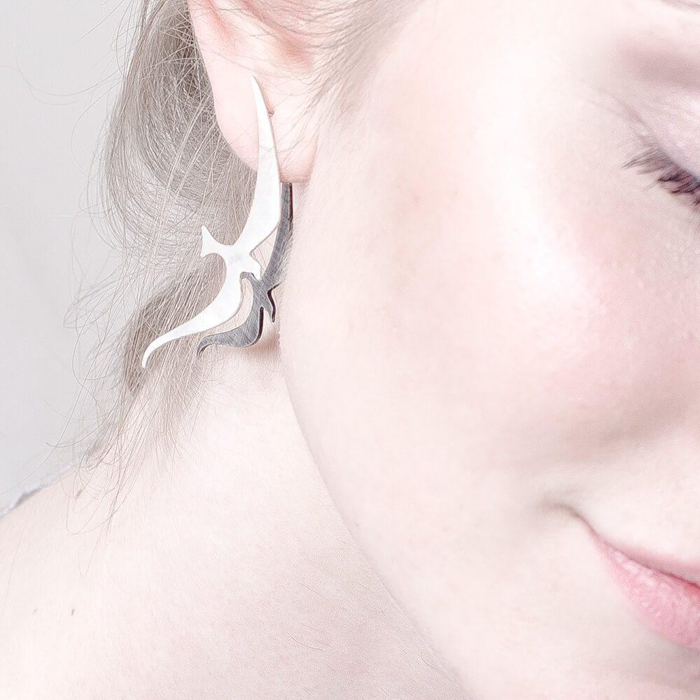 Handmade statement earring,, unique jewelry piece, worn infront and behind an earlobe