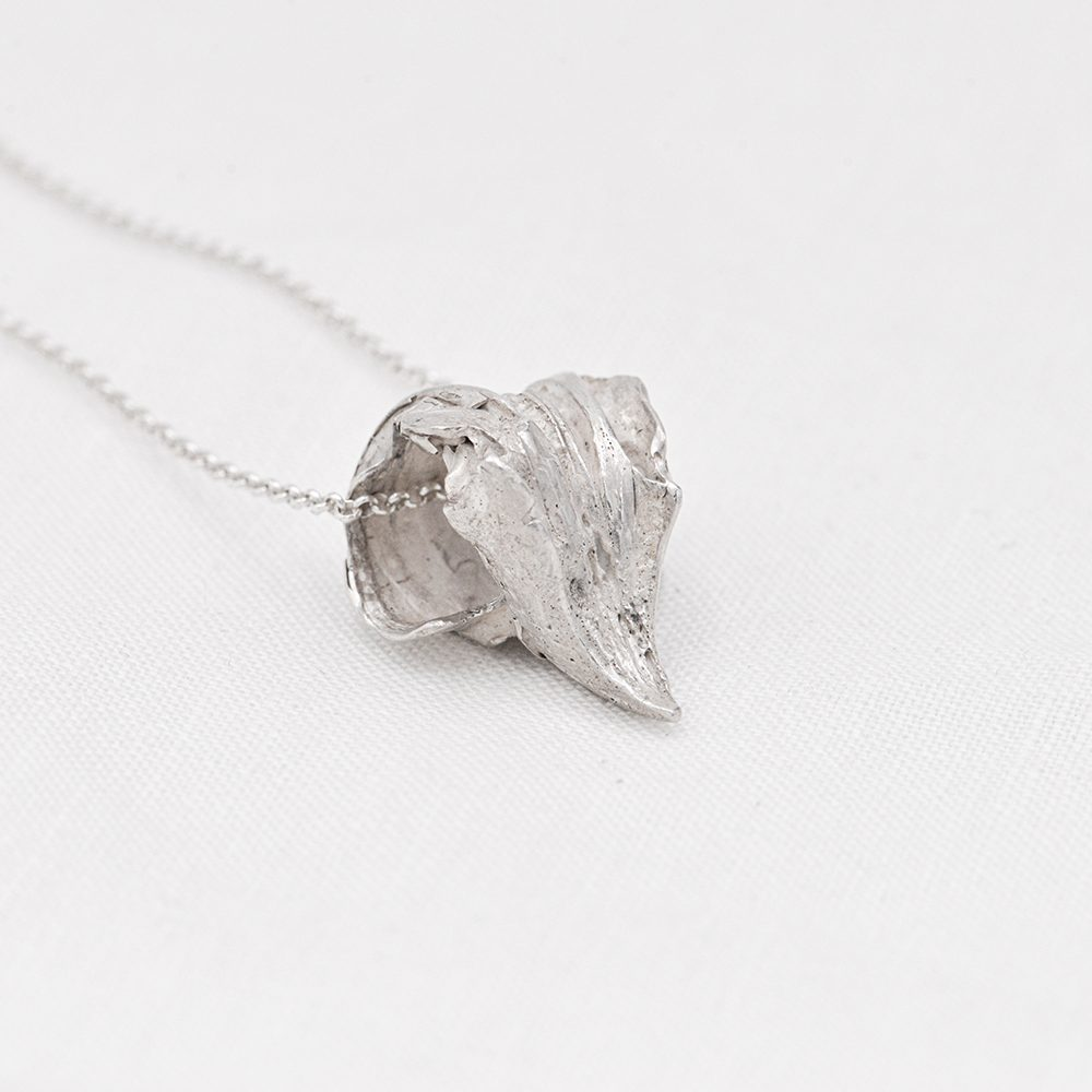 Statement silver pendant Eagle's beak form, handmade in detail