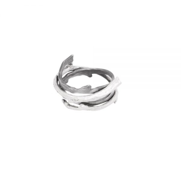 Handmade silver rings with twig, oxidized