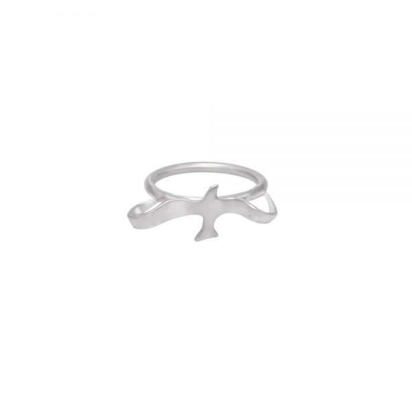 Sterling silver handmade ring inspired by natural forms of flying birds