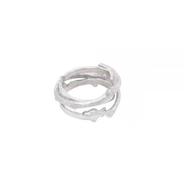 Silver ring in shape of a twig, handmade from 925 silver
