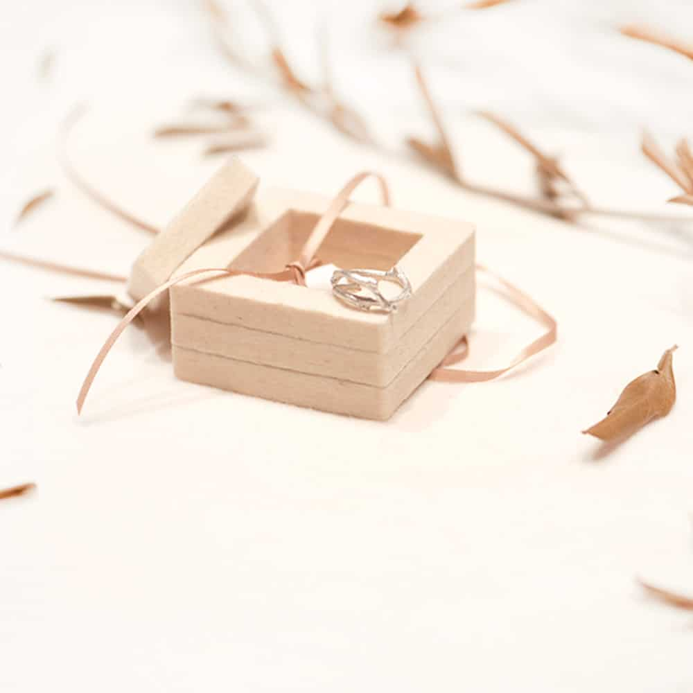 Opened engagement ring box