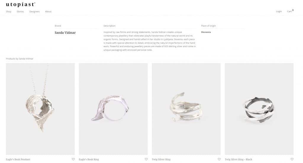 Product selection on Utopiast portal