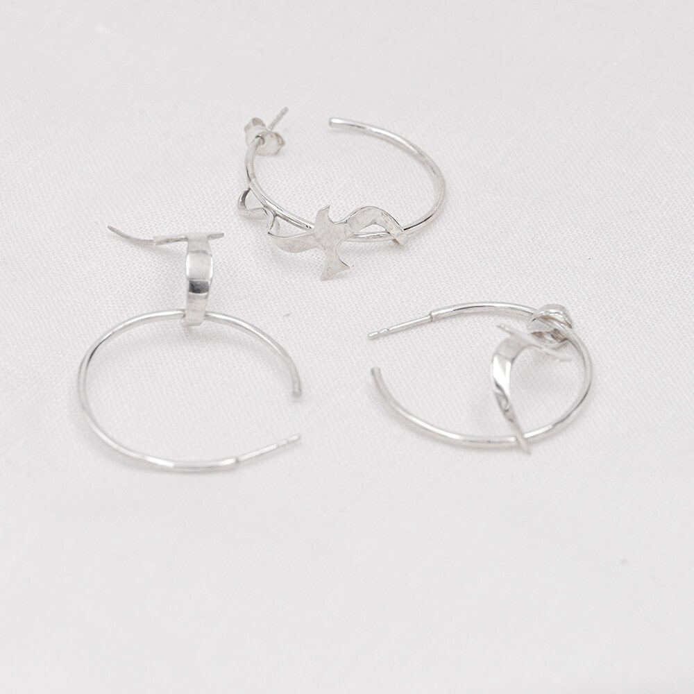 Handmade unique hoop earrings with birds, set of three shapes