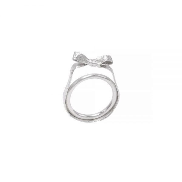 Silver Bow ring, handmade and detailed structure
