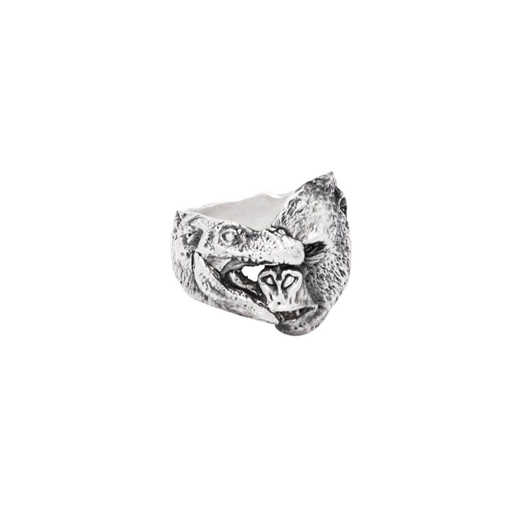 Silver ring Gorilla attacking alligator, handmade