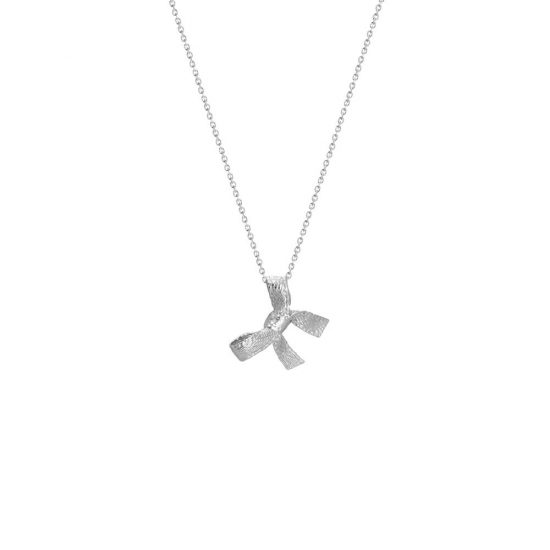 Bow pendant on a necklace called Faith, both sterling silver