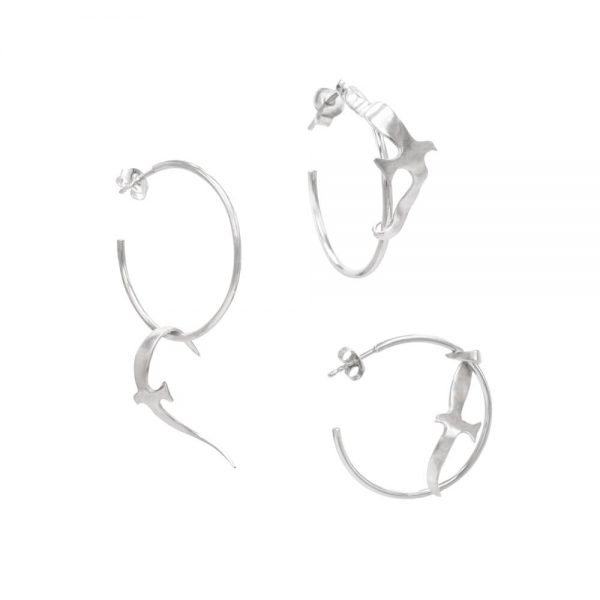Hoop earrings, set of three shapes, handmade