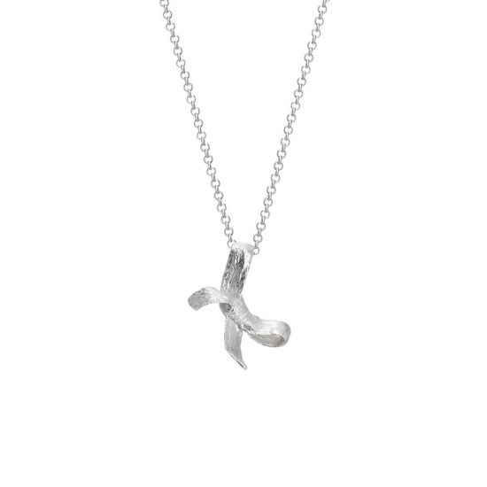 Bow pendant with necklace, courage meaning, silver
