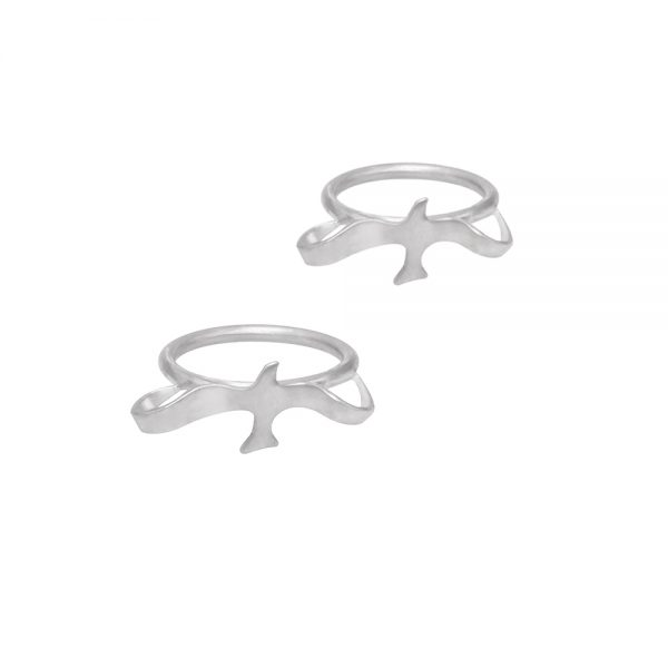 Two silver mini birds rings, handmade set