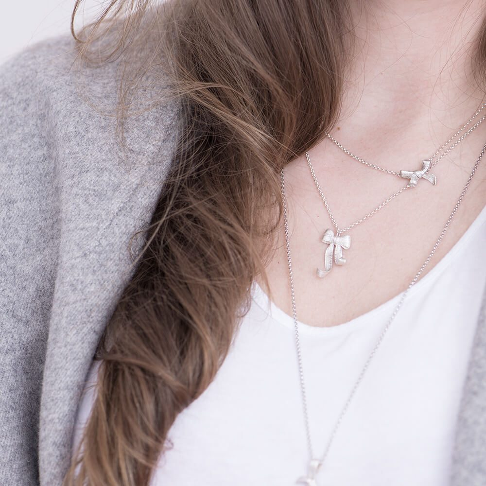 Grace necklace with Bow pendant, handmade and sterling silver