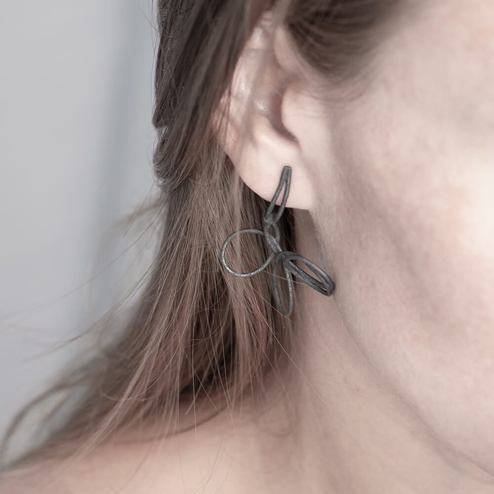 Knots in sterling silver and oxidized, earrings set