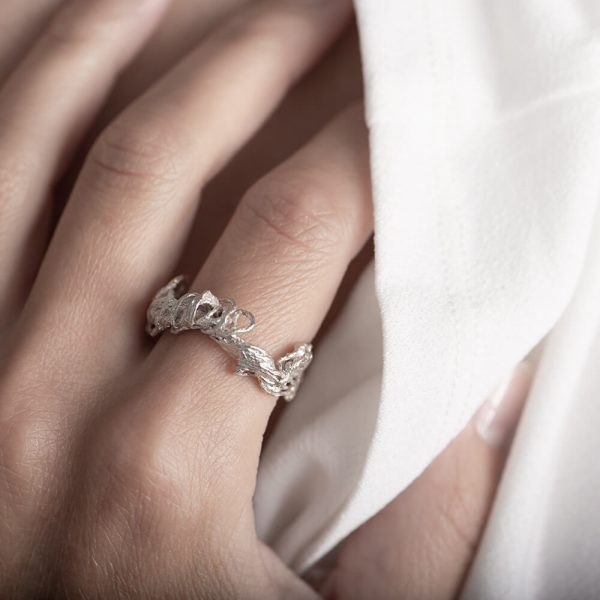 Silver rings out of natural rope, caster, handmade