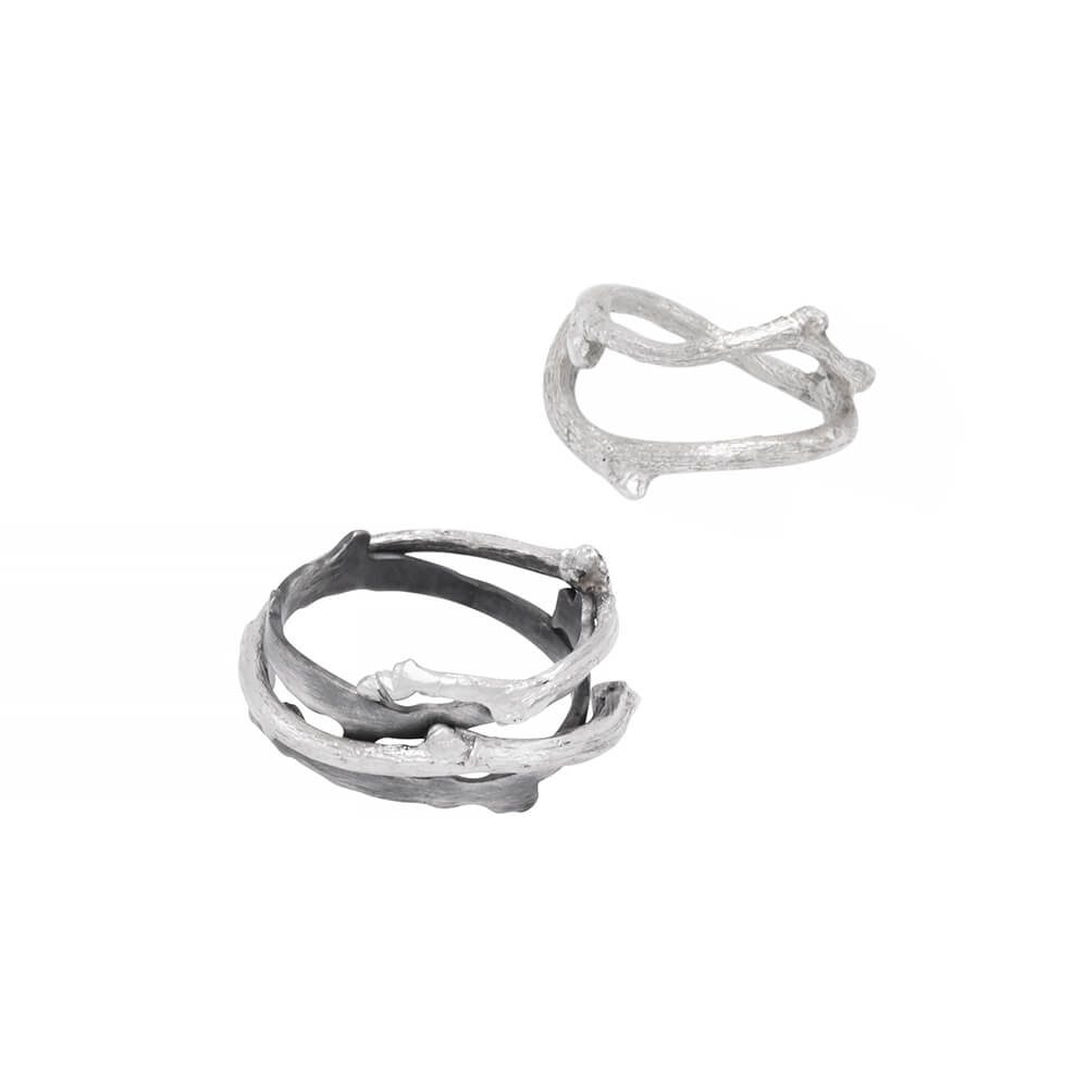 Twigs rings in sterling silver, set of a simple twig ring and Twig black oxidized