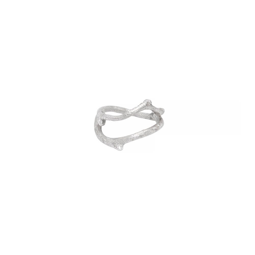 Single twig ring, handmade in sterling silver