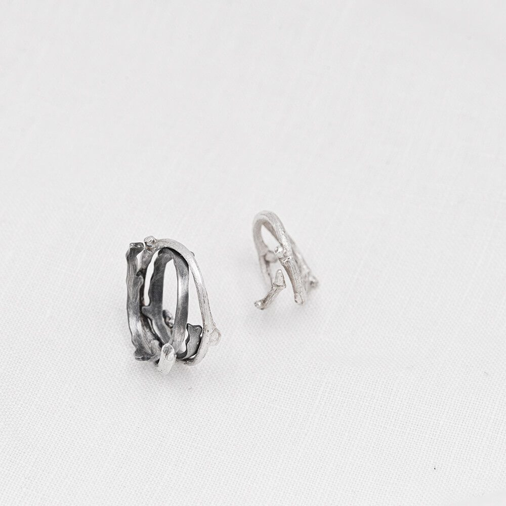 Pair of two silver Twig rings, handmade and detailed