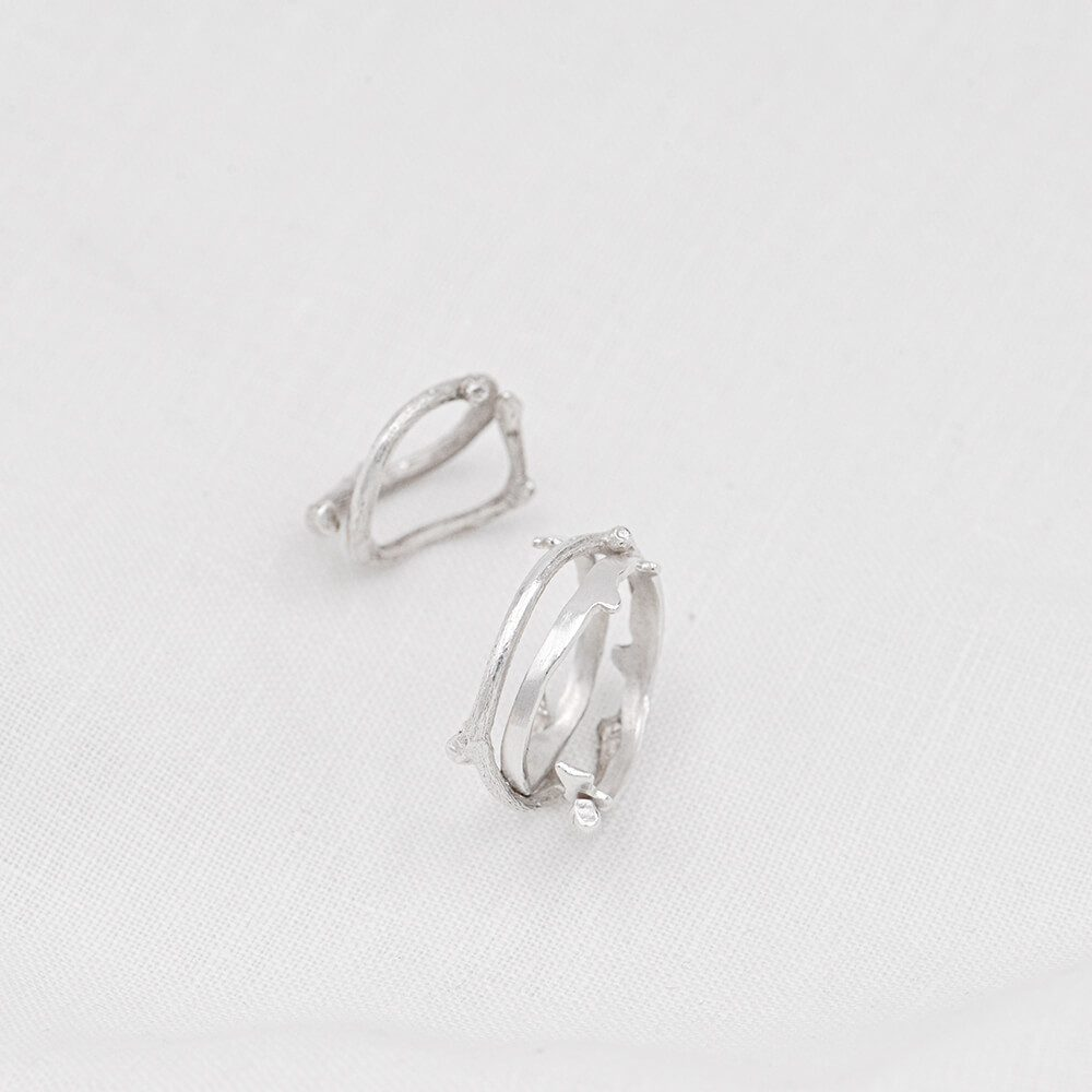 Silver rings set, inspired by natural twigs