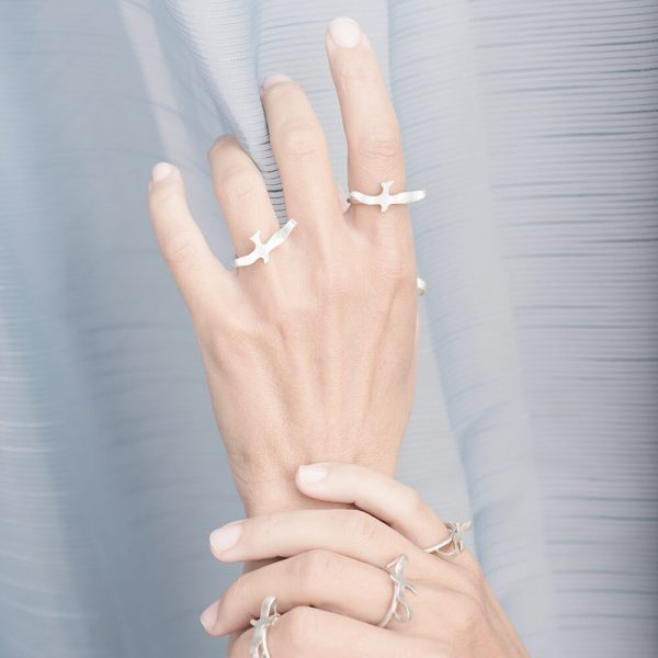 Handmade silver rings with birds in a pair