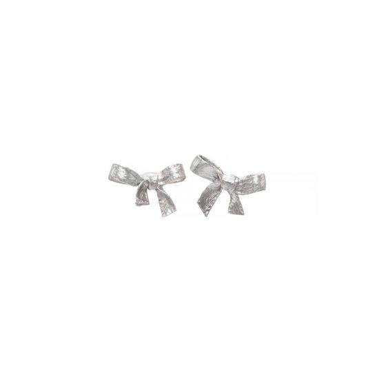 Handmade minimalistic silver bow earrings