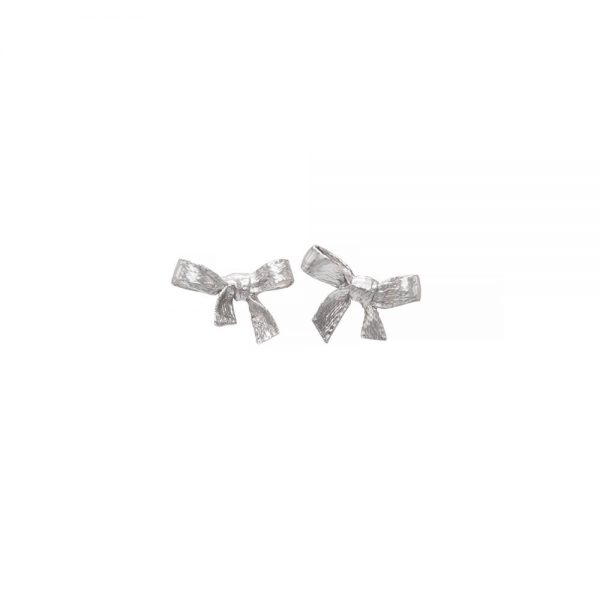 Handmade minimalistic silver bow earrings