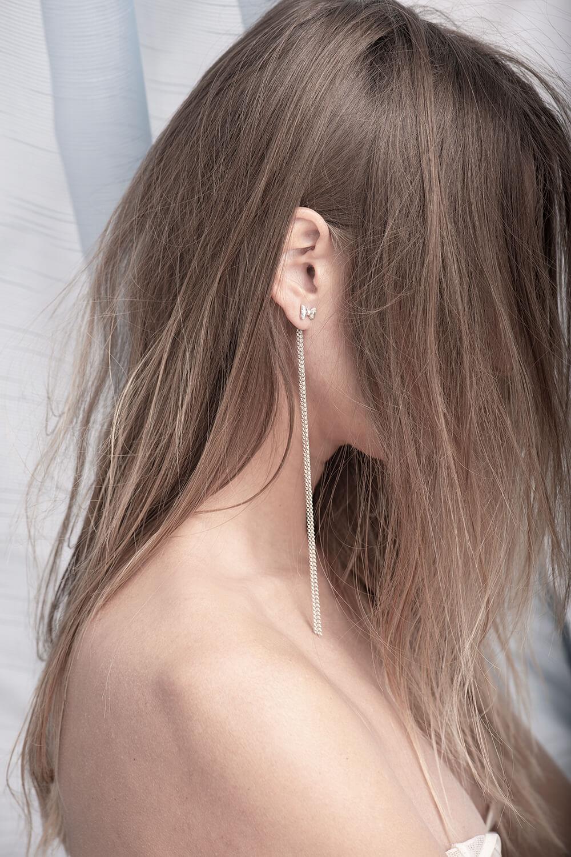 Drops, silver earrings hanging