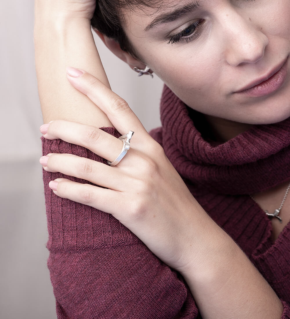 Handmade silver ring, present
