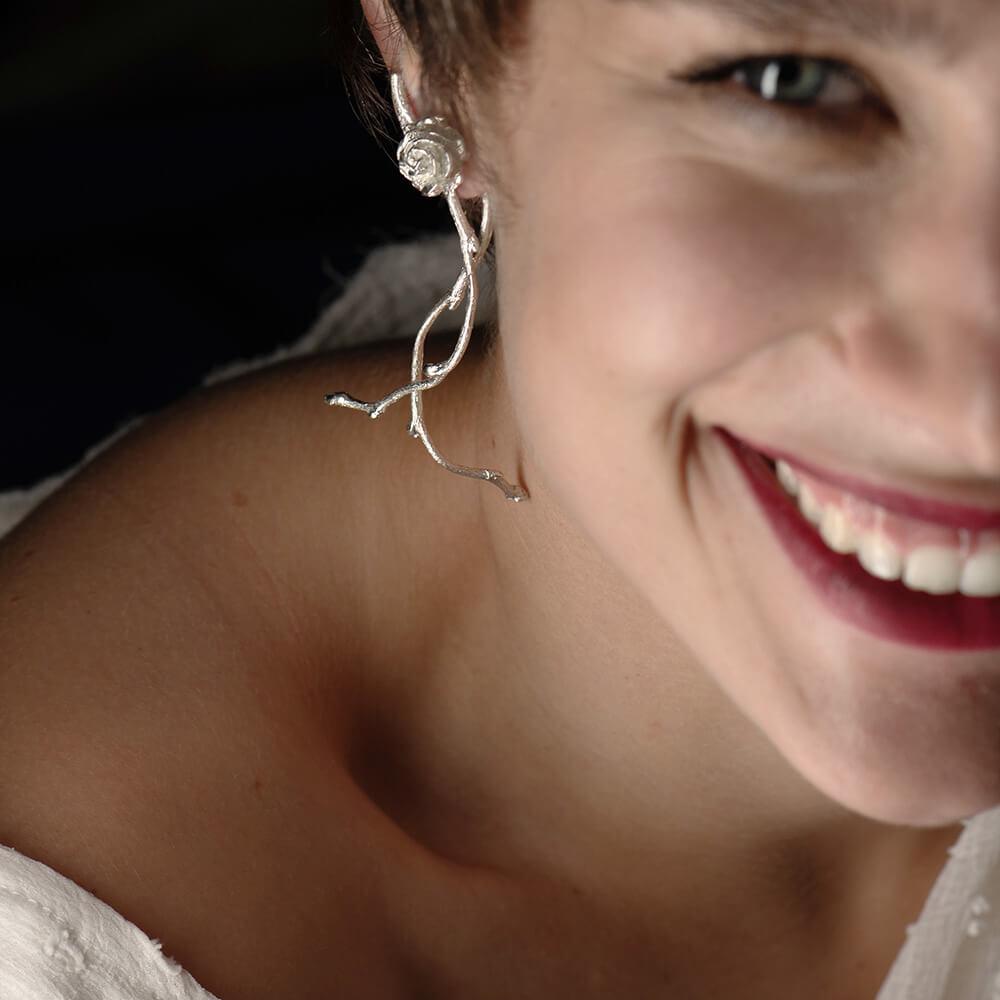 Feminine earrings, roses, statement jewelry