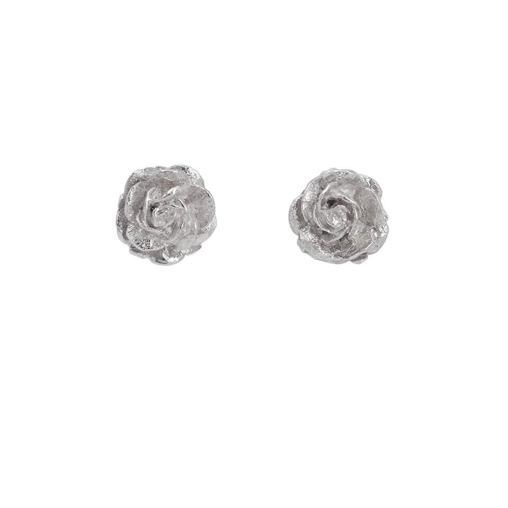 Rose stud earrings, handmade