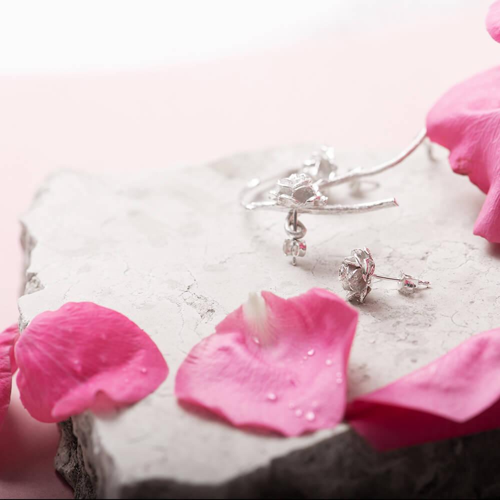 Earrings rose, handmade